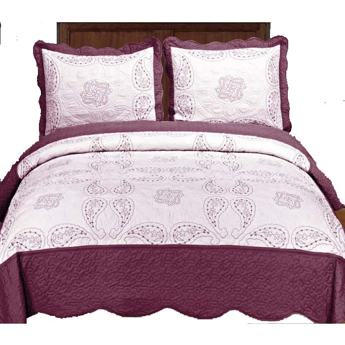 Embroidery Paisley Bed Cover